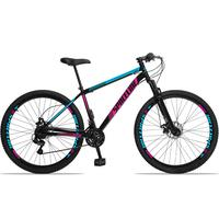 Bicicleta Aro 29 Spaceline Moon 21v Suspensão E Freio Disco - Preto/azul E Rosa - 19´´ - 19´´