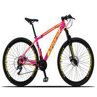 Bicicleta Aro 29 Dropp Z3x 21v Suspensão E Freio Disco - Rosa/amarelo - 17''