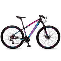 Bicicleta Aro 29 Dropp Z4x 24v Suspensão E Freio A Disco - Preto/azul E Rosa - 15''