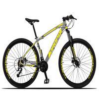 Bicicleta Aro 29 Dropp Z3x 27v Suspensão E Freio Hidraulico - Cinza/amarelo - 15''