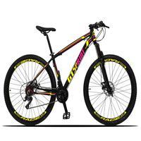Bicicleta Aro 29 Gt Sprint Volcon 21v Suspensão, Freio Disco - Preto/amarelo E Rosa - 17´´ - 17´´