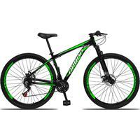 Bicicleta Aro 29 Dropp Aluminum 21v Suspensão, Freio A Disco - Preto/verde E Branco - 19