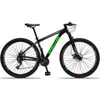 Bicicleta Aro 29 Spaceline Orion 21v Suspensão Freio A Disco - Preto/verde E Cinza - 17''