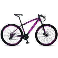 Bicicleta Aro 29 Spaceline Vega 21v Suspensão E Freio Disco - Preto/rosa - 15''