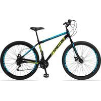 Bicicleta Aro 29 Spaceline Moon 21v Garfo Rigido Freio Disco - Preto/azul E Amarelo - 17''