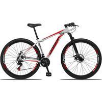 Bicicleta Aro 29 Dropp Aluminum 21v Suspensão, Freio A Disco - Branco/vermelho E Preto - 17