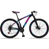 Bicicleta Aro 29 Gt Sprint Mx1 21v Suspensão E Freio A Disco - Preto/azul E Rosa - 15''