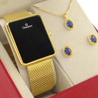 Relógio Feminino Digital Champion Dourado Original 1 ano de garantia com colar e brincos