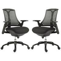 Kit 2 Cadeiras Para Escritório Nagoh Office Giratória Preto  Gran Belo