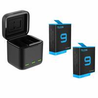 Carregador Triplo com 2 Baterias GoPro Hero 9 e Hero 10 Black - Telesin