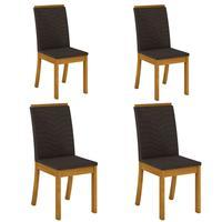 Conjunto 4 Cadeiras Estofadas Isa Para Mesa De Jantar Henn