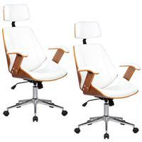 Kit 02 Cadeiras de Escritório Presidente, Giratória, Akon, Pu Sintético, Branco - Gran Belo