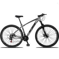 """Bicicleta Aro 29 Ksw 24 Marchas Freios A Disco, K7 e Suspensão Cor: Grafite/Preto, Tamanho Do Quadro: 19""""-19"""""""