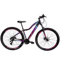 """Bicicleta Aro 29 Ksw 24 Marchas Shimano, Freios A Disco E K7 Cor:preto/rosa E Azultamanho Do Quadro:17"""" - 17"""""""