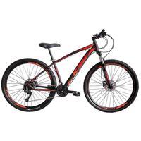 """Bicicleta Aro 29 Ksw 27 Marchas Freio Hidráulico E K7 Cor:preto/laranja E Vermelhotamanho Do Quadro:21"""" - 21"""""""