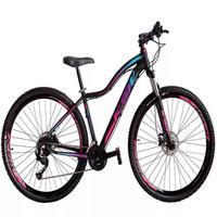 """Bicicleta Aro 29 Ksw 24 Marchas, Freios Hidráulico E K7, Cor: preto/rosa E Azul, Tamanho Do Quadro: 15"""""""
