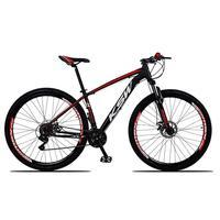 """Bicicleta Aro 29 Ksw 24 Vel Shimano Freio Hidráulico/trava, Cor: preto/vermelho E Branco, Tamanho Do Quadro: 19"""""""