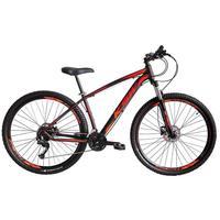"""Bicicleta Aro 29 Ksw 24 Marchas Freios A Disco C/trava E K7 Cor: preto/laranja E Vermelho tamanho Do Quadro:19"""" - 19"""""""