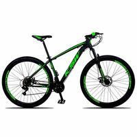 """Bicicleta Aro 29 Ksw 24 Marchas Freios A Disco, K7 E Suspensão Cor:preto/verde, Tamanho Do Quadro:21"""" - 21"""""""