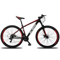 """Bicicleta Aro 29 Ksw 21 Marchas Shimano, Freios A Disco E K7 Cor: preto/vermelho E Branco tamanho Do Quadro: 21"""""""