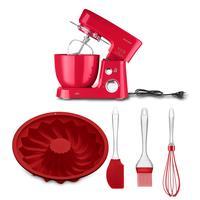 Combo Cozinha - Batedeira Planetária 3,5l 220v-500w, Kit Confeiteiro De Silicone E Forma De Silicone Redonda Vazada Vermelha Up Home - Ce147k