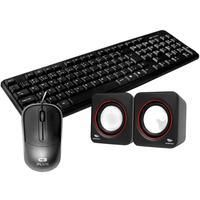 Kit Teclado Kb-15bk Mouse Ms-35bk Caixa De Som Sp-301bk Com Fio