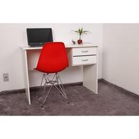 Kit Escrivaninha Com Gaveteiro Branca + 01 Cadeira Eiffel Base Metal - Vermelha