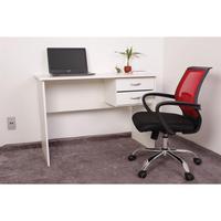 Kit Escrivaninha Com Gaveteiro Branca + 01 Cadeira Secretária Plus - Vermelha
