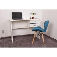 Kit Escrivaninha Com Gaveteiro Branca + 01 Cadeira Eiffel Slim - Turquesa