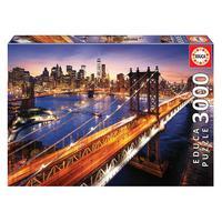 Puzzle 3000 Peças Crepúsculo Em Manhattan - Import Puzzle