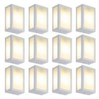Luminária De Parede Retangular Branco Kit Com 12